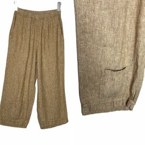 Flax Linen Pocket Pull-On Ankle Pants Tan 4 NWOT